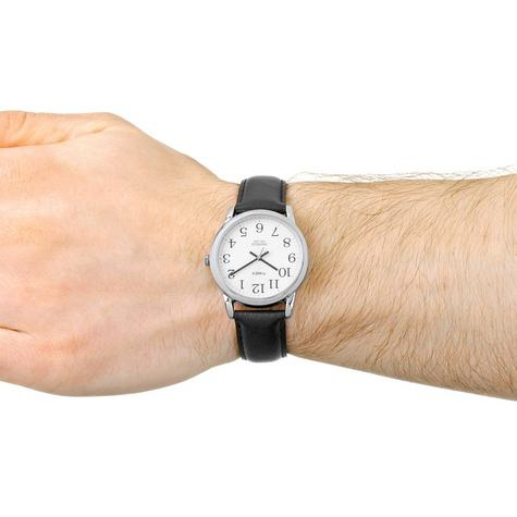 Timex Mens T20501 Easy Reader Watch?Analogue Display?Black Leather Strap?White? Thumbnail 3