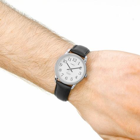 Timex Mens T20501 Easy Reader Watch?Analogue Display?Black Leather Strap?White? Thumbnail 4