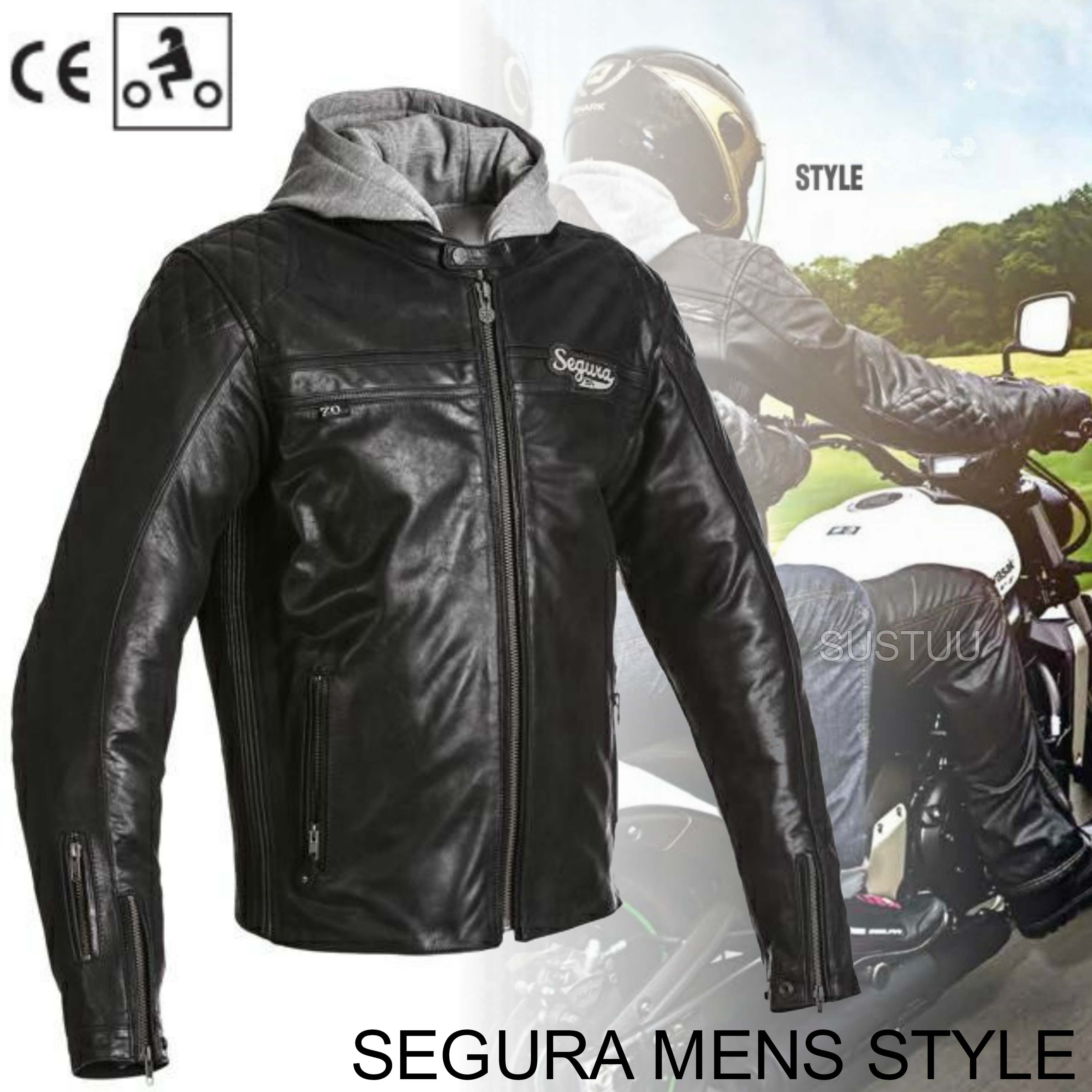 Segura Mens Style Motorcycle/Bike Hoodie Jacket|Cowhide Leather|CE Approved|Black