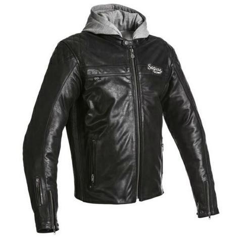Segura Mens Style Motorcycle/Bike Hoodie Jacket|Cowhide Leather|CE Approved|Black Thumbnail 2