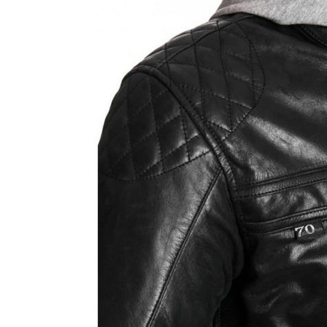 Segura Mens Style Motorcycle/Bike Hoodie Jacket|Cowhide Leather|CE Approved|Black Thumbnail 5