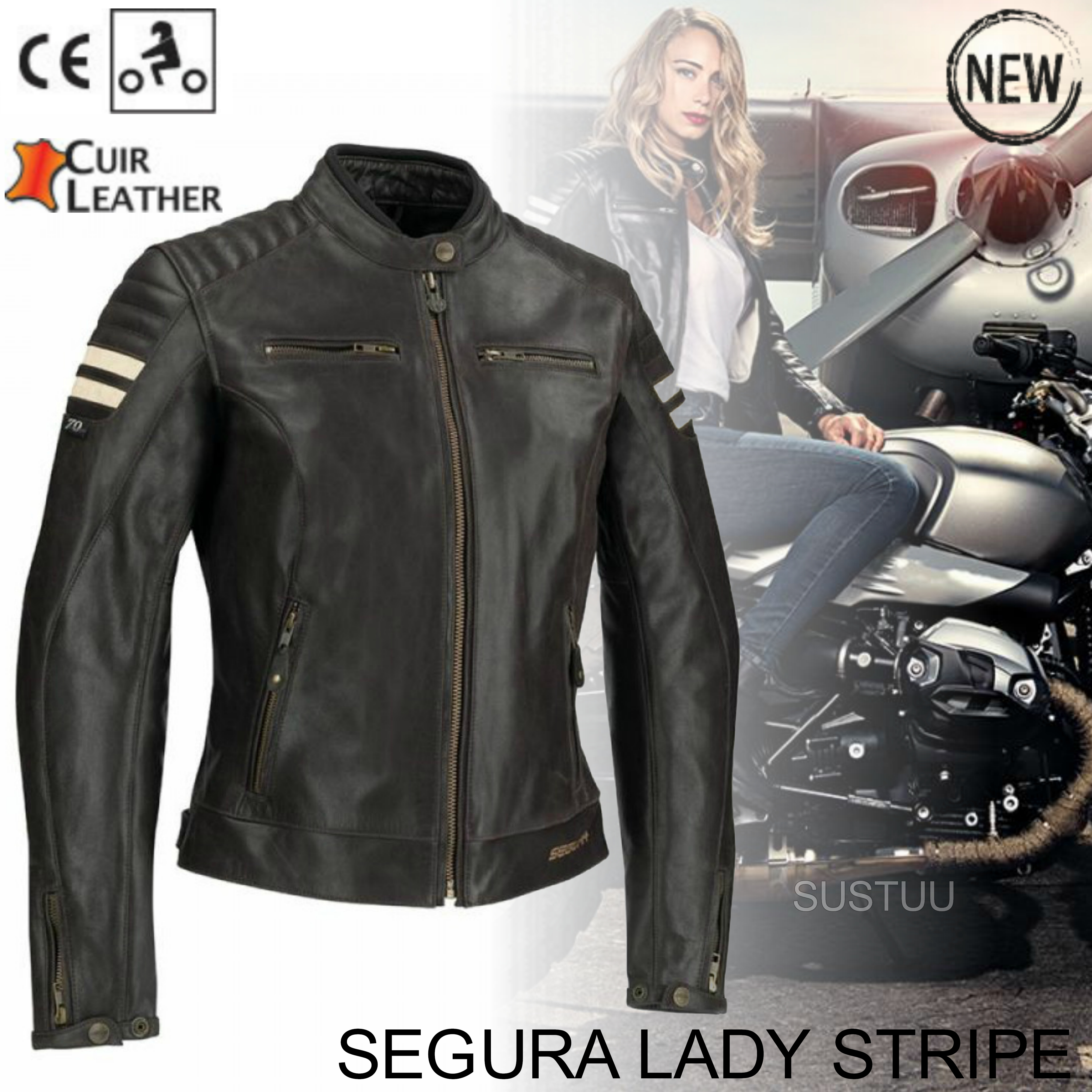 New Segura Lady Stripe Motorcycle/Bike Female Jacket|BuffaloLeather|Body-Fit|CE Protector|Brown