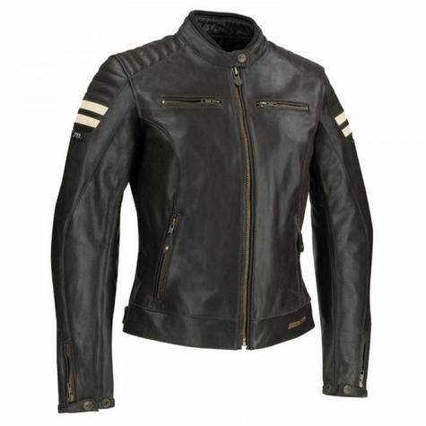 New Segura Lady Stripe Motorcycle/Bike Female Jacket|BuffaloLeather|Body-Fit|CE Protector|Brown Thumbnail 2