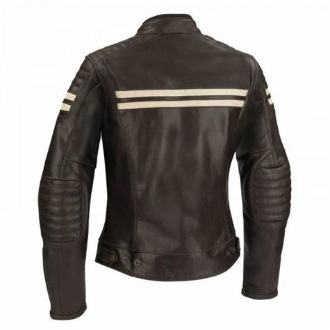 New Segura Lady Stripe Motorcycle/Bike Female Jacket|BuffaloLeather|Body-Fit|CE Protector|Brown Thumbnail 3