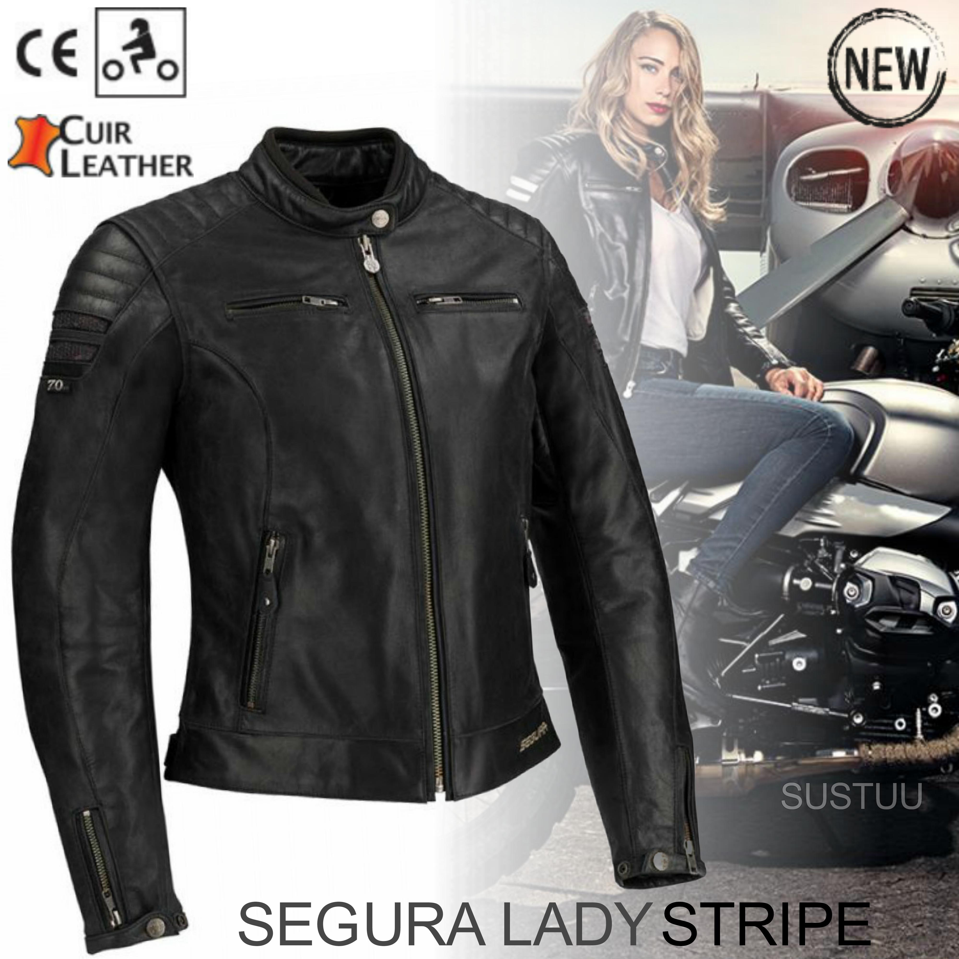 New Segura Lady Stripe Motorcycle/Bike Female Jacket|Buffalo Leather|Body-Fit|CE Protector|Black