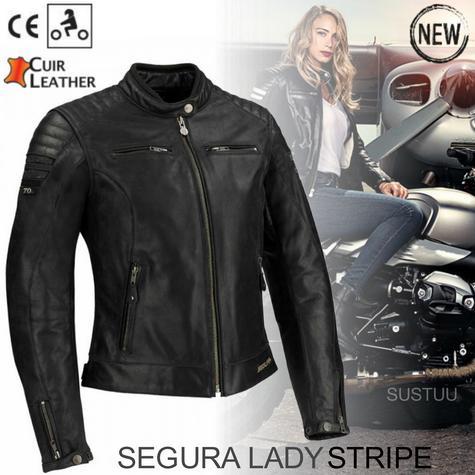 New Segura Lady Stripe Motorcycle/Bike Female Jacket|Buffalo Leather|Body-Fit|CE Protector|Black Thumbnail 1