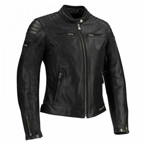 New Segura Lady Stripe Motorcycle/Bike Female Jacket|Buffalo Leather|Body-Fit|CE Protector|Black Thumbnail 2