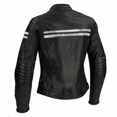 New Segura Lady Stripe Motorcycle/Bike Female Jacket|Buffalo Leather|Body-Fit|CE Protector|Black Thumbnail 3