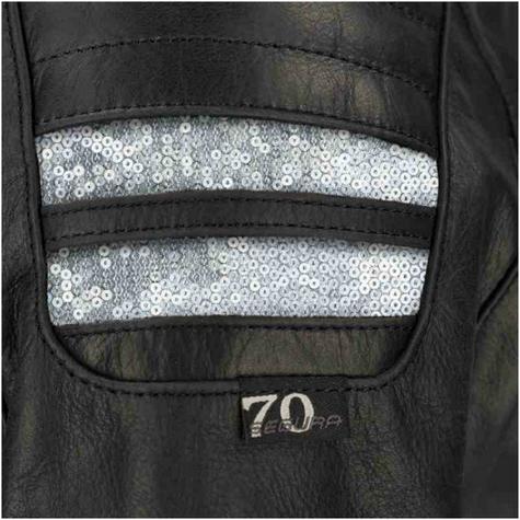 New Segura Lady Stripe Motorcycle/Bike Female Jacket|Buffalo Leather|Body-Fit|CE Protector|Black Thumbnail 4