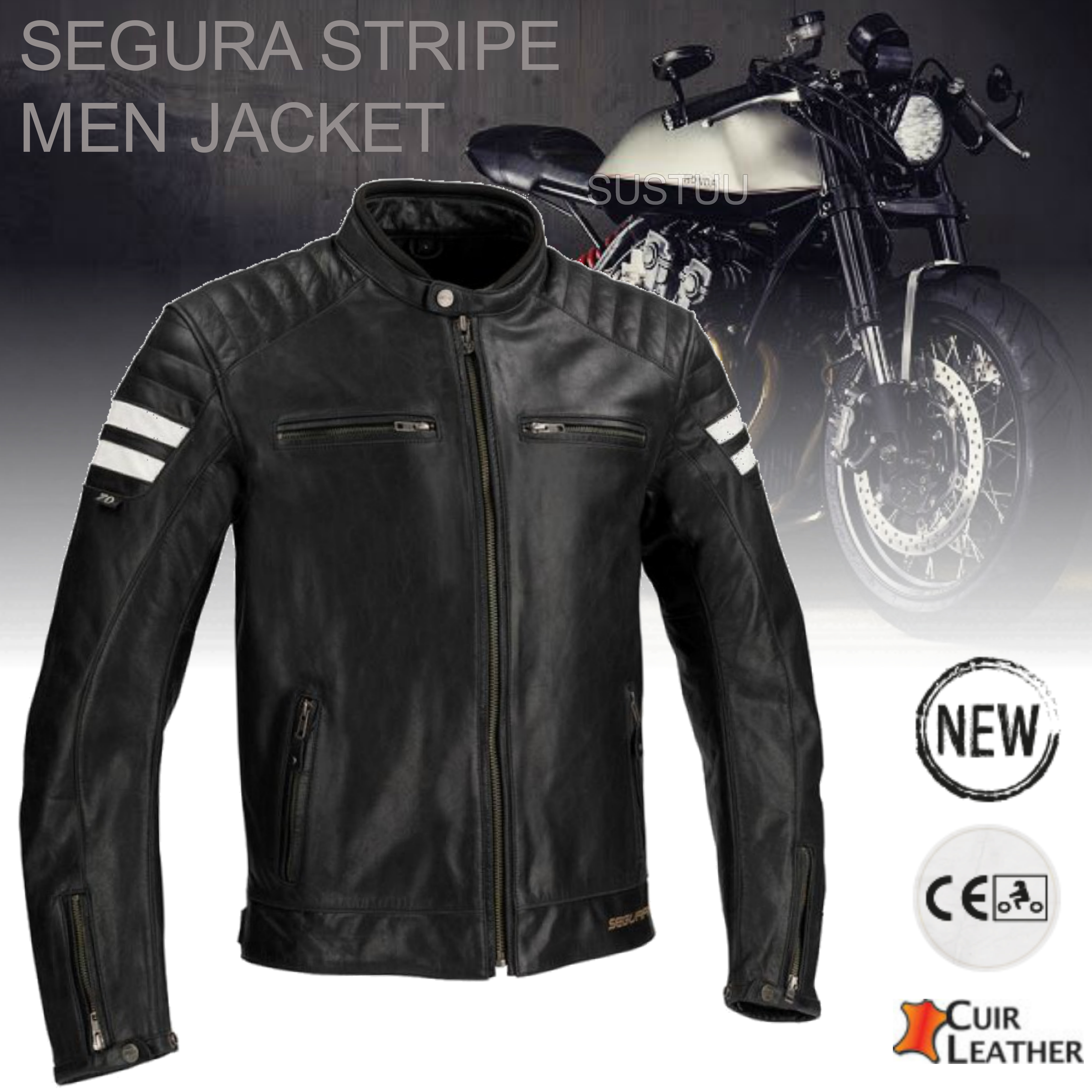 New Segura Stripe Motorcycle/Bike Men Buffalo Leather Jacket|Body-Fit|CE Approved|Black