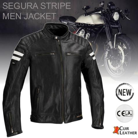 New Segura Stripe Motorcycle/Bike Men Buffalo Leather Jacket|Body-Fit|CE Approved|Black Thumbnail 1