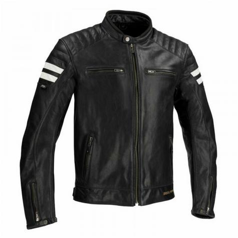 New Segura Stripe Motorcycle/Bike Men Buffalo Leather Jacket|Body-Fit|CE Approved|Black Thumbnail 2