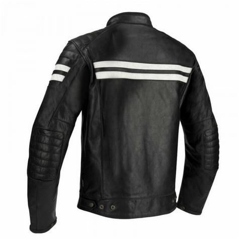 New Segura Stripe Motorcycle/Bike Men Buffalo Leather Jacket|Body-Fit|CE Approved|Black Thumbnail 3