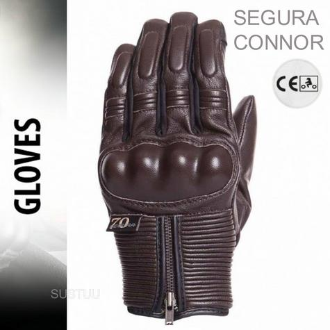 Segura Connor Motorcycle/Bike Mid-Seasons Textile Glove|Soft|Watreproof & Breathable|CE|Brown Thumbnail 1
