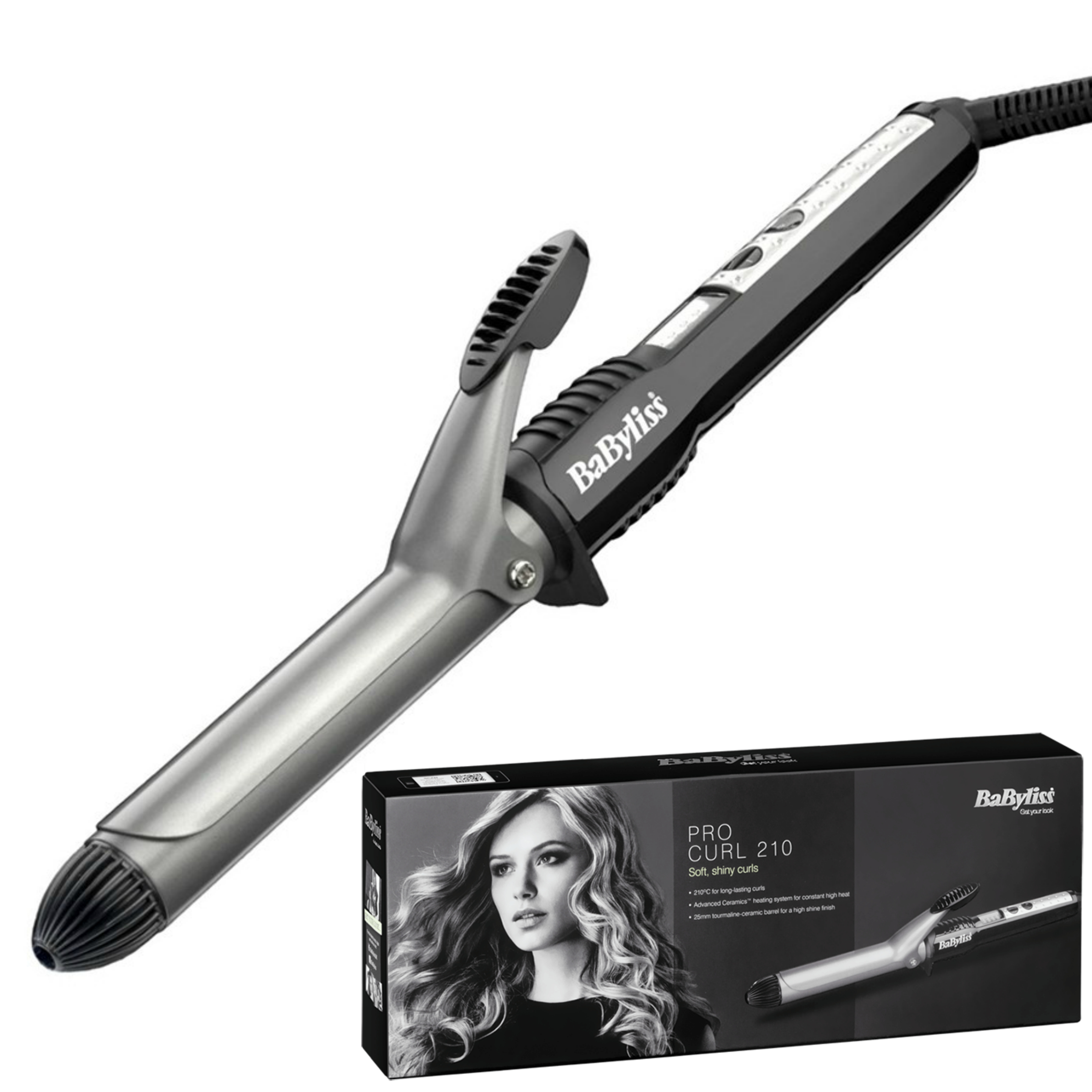 BaByliss 2284BU  New Pro Curling Tong|5 Heat Setting Up To 210°C|Ceramic Barrel|