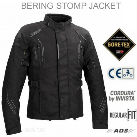 Bering Stomp GTX Motorcycle/Bike Textile Jacket|Gore-Tex|Waterproof & Breathable|CE Approved|Black Thumbnail 1