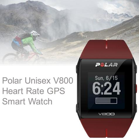 Polar UnisexV800 Bluethooth Heart Rate Monitor GPS Smart Alarm Chronograph Watch - Red Thumbnail 1