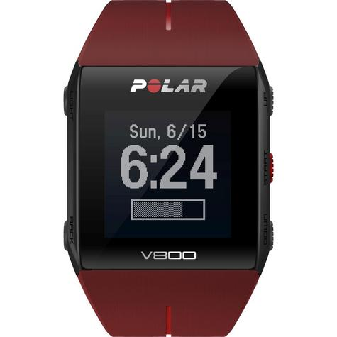 Polar UnisexV800 Bluethooth Heart Rate Monitor GPS Smart Alarm Chronograph Watch - Red Thumbnail 2