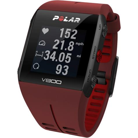 Polar UnisexV800 Bluethooth Heart Rate Monitor GPS Smart Alarm Chronograph Watch - Red Thumbnail 3