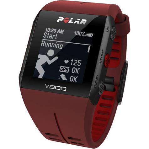 Polar UnisexV800 Bluethooth Heart Rate Monitor GPS Smart Alarm Chronograph Watch - Red Thumbnail 5