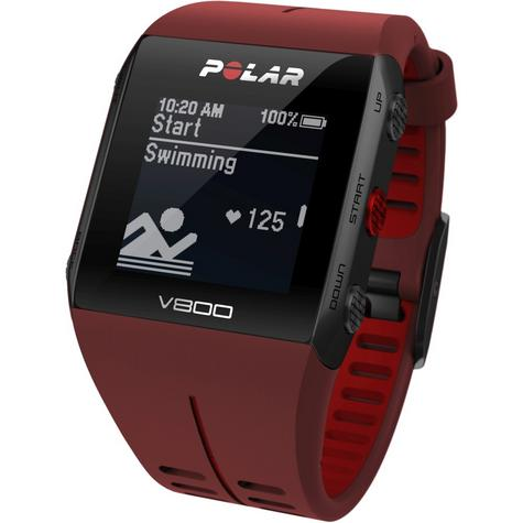 Polar UnisexV800 Bluethooth Heart Rate Monitor GPS Smart Alarm Chronograph Watch - Red Thumbnail 7