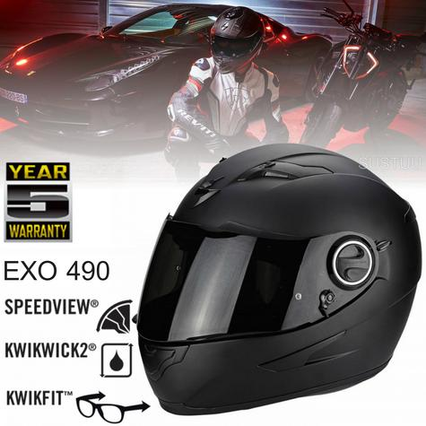 Scorpion EXO 490 Motorcycle/Bike Full Face Unisex Helmet|ECE 22-05 Certified|TUV Tested|Matt Black Thumbnail 1