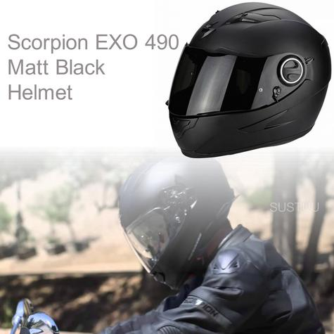 Scorpion 490 Matt Black Helmet|ECE 22-05 Certified|TUV Tested|Full Face Security Thumbnail 1