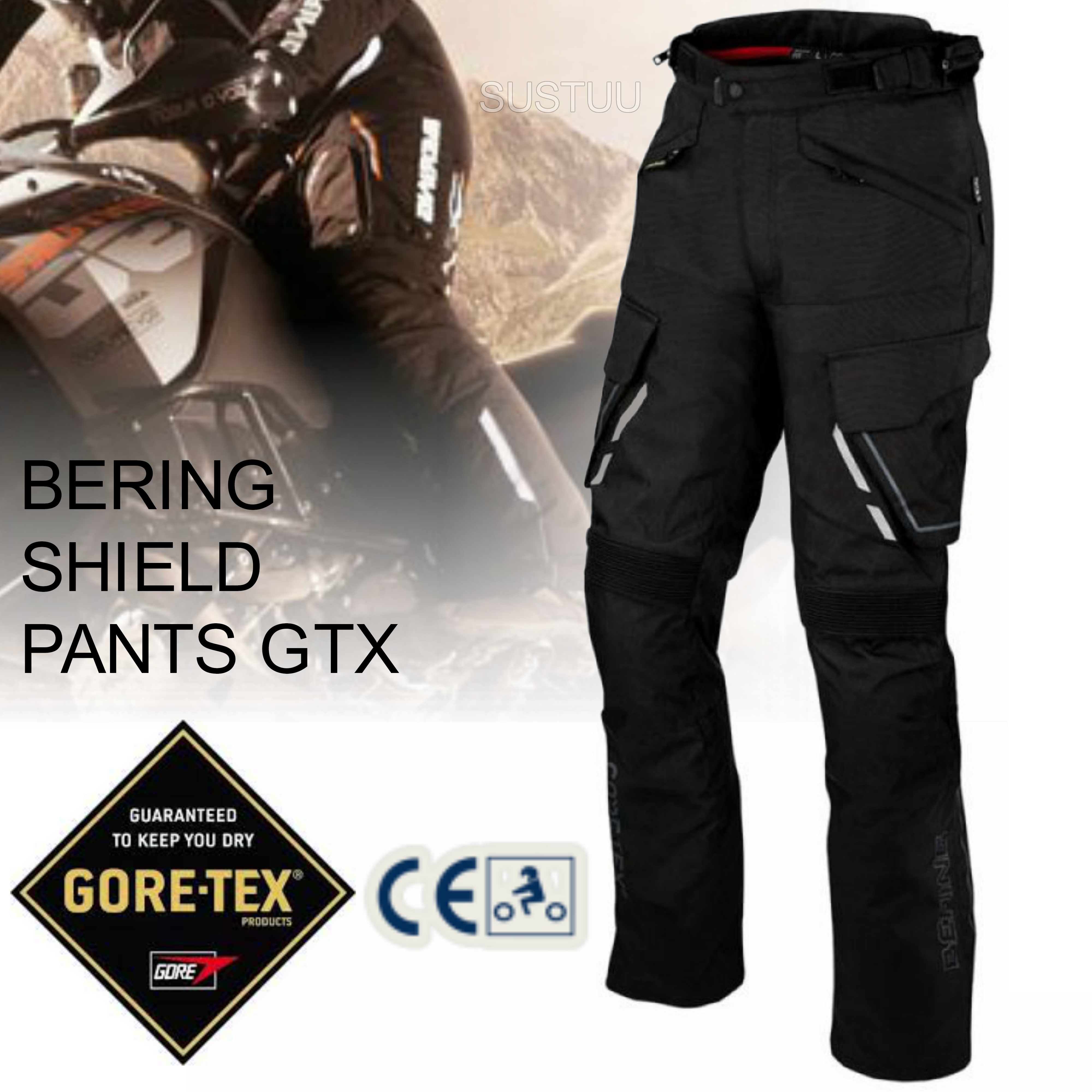 New Bering Shield Motorcycle/Bike Men Textile Pant Trousers|Gore-Tex & Breathable|CE Approved|Black