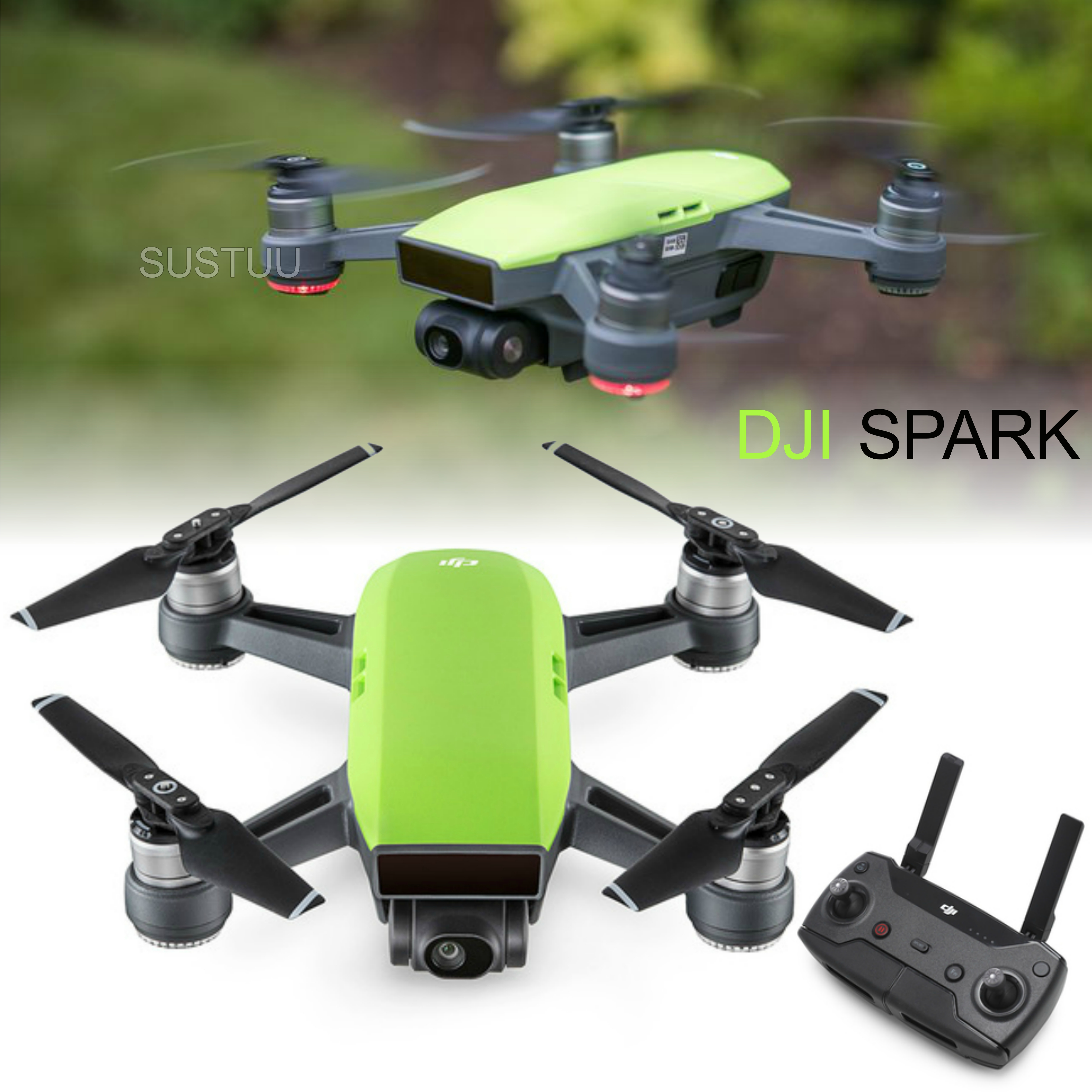 DJI Spark Quadcopter Mini Smart Camera Drone|Open Sky|1080p HD 12 MP|CP.PT.000749|M Green