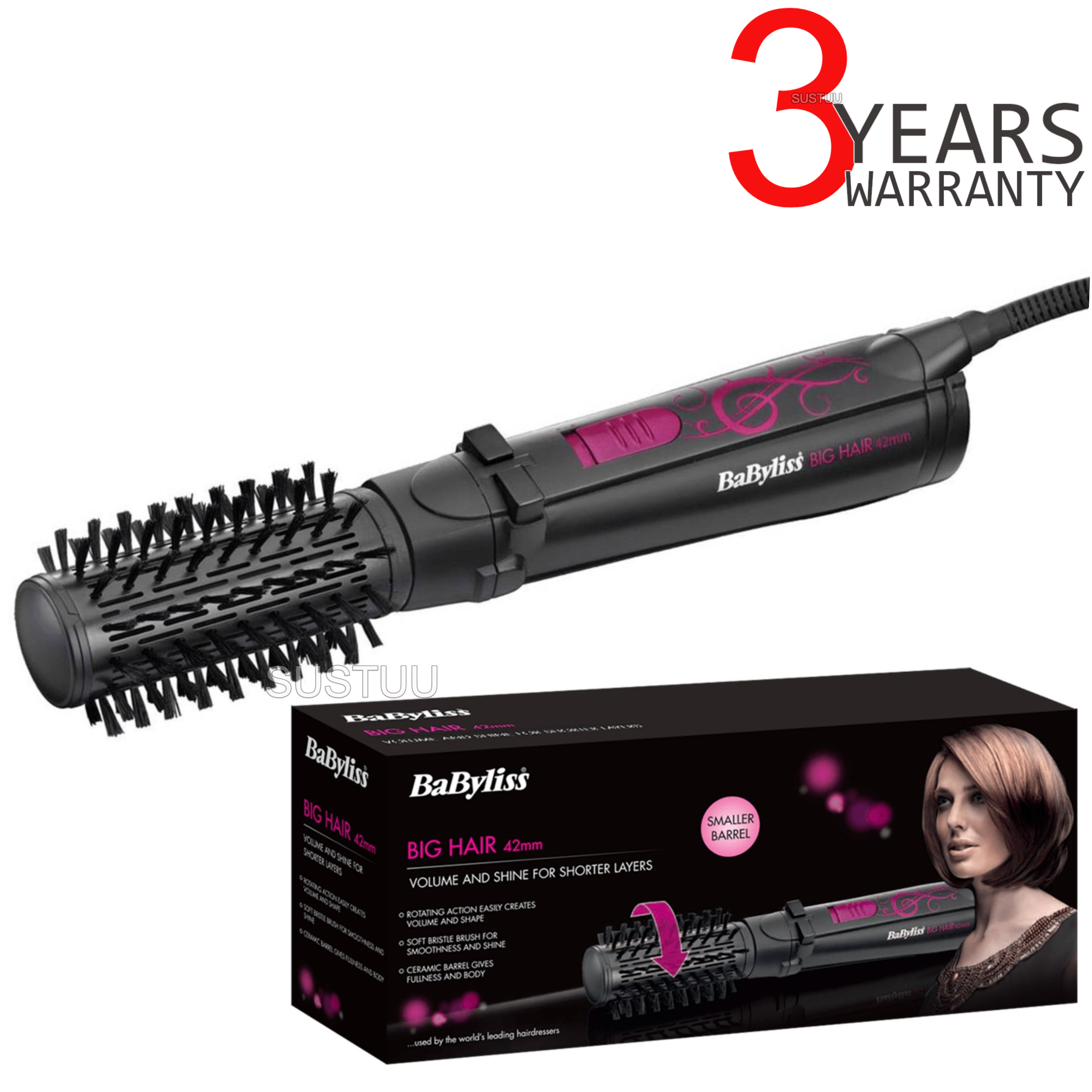 Babyliss 2777U Big Hair Rotating Styler|42mm Ceramic Barrel|Bristle Brush|700W|