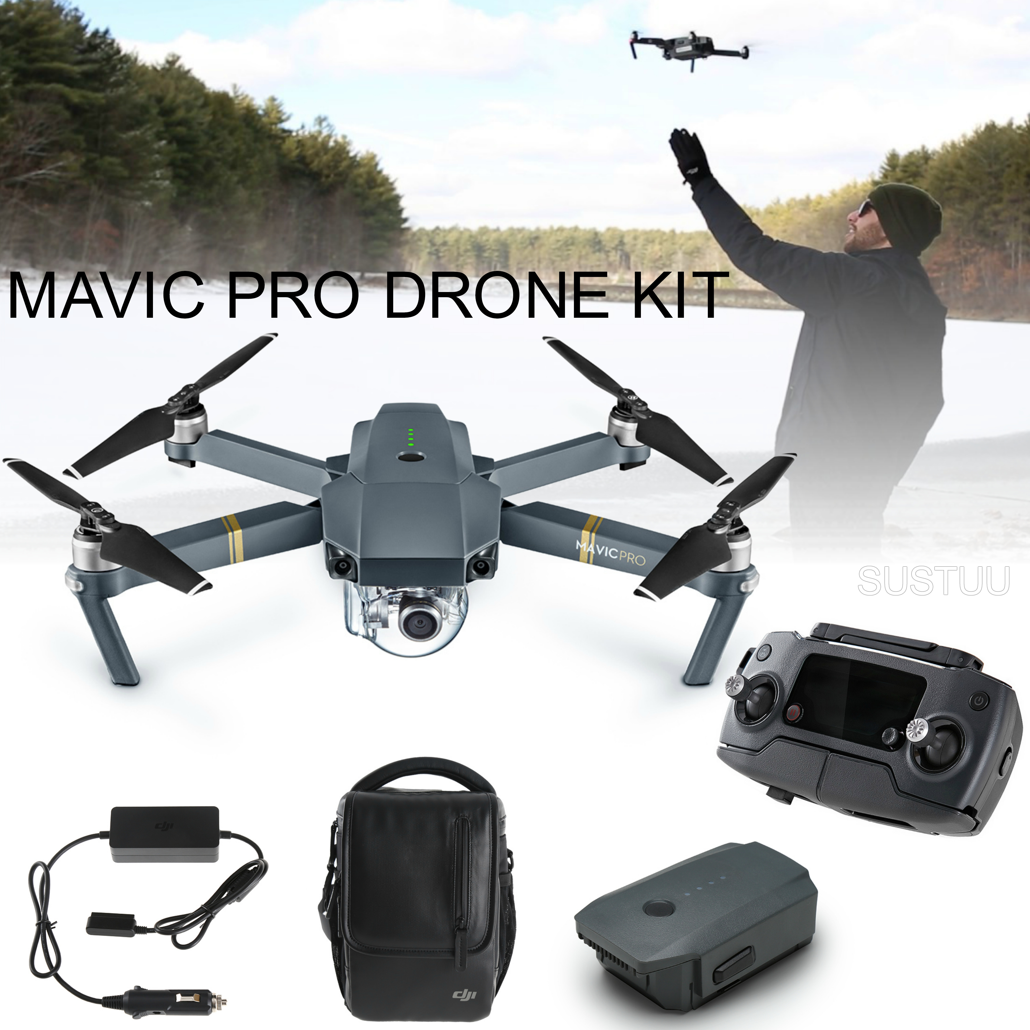 New DJI Mavic Pro Drone Combo Kit|4K Camera|12MP|1080p HD|5 Vision Sensor|3-axis Gimbal|Compact & Powerful
