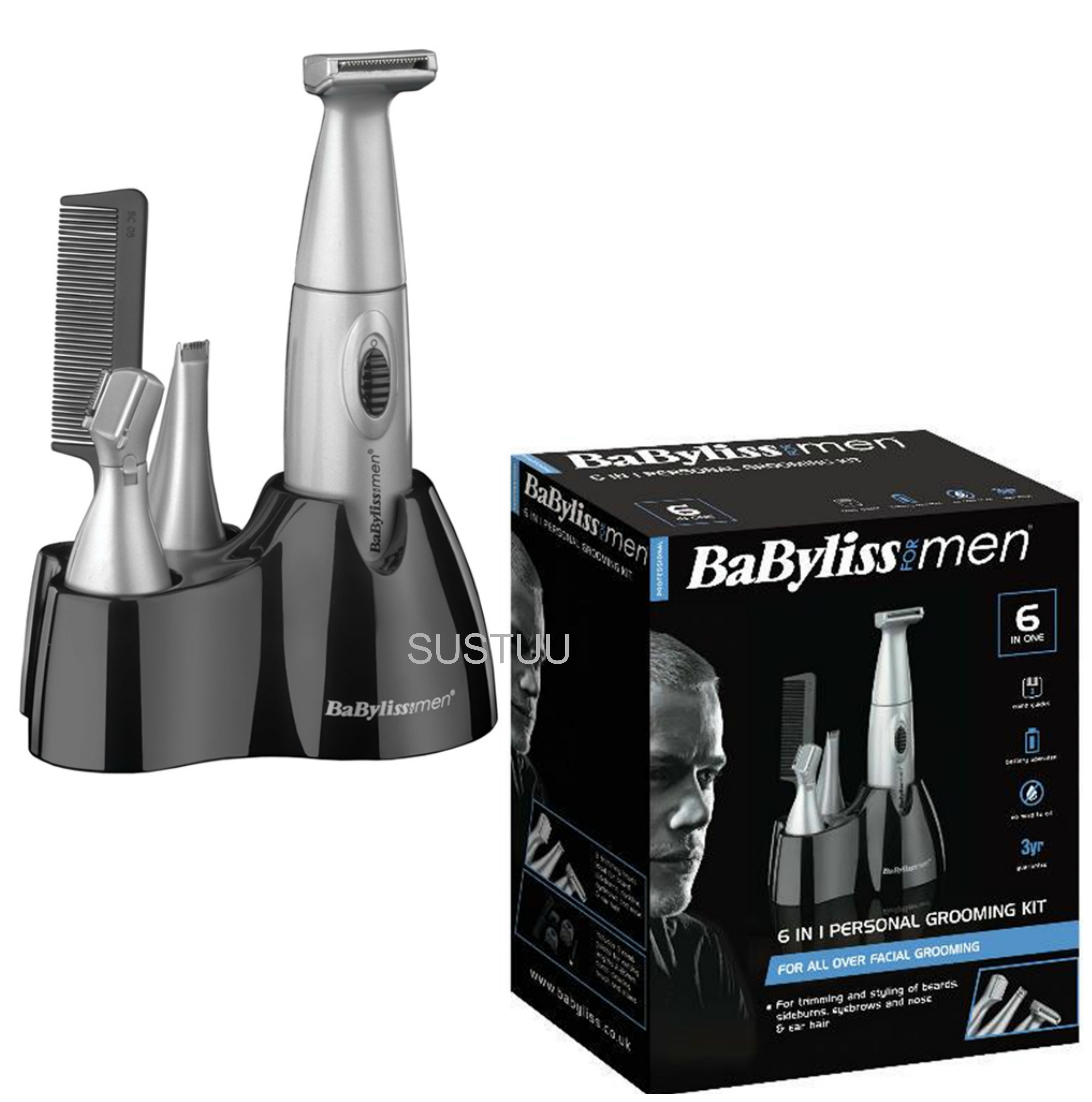 Babyliss New 7040CU Men's Nose/Ear/Eyebrow Trimmer Battery Operated 6 In 1 Kit 