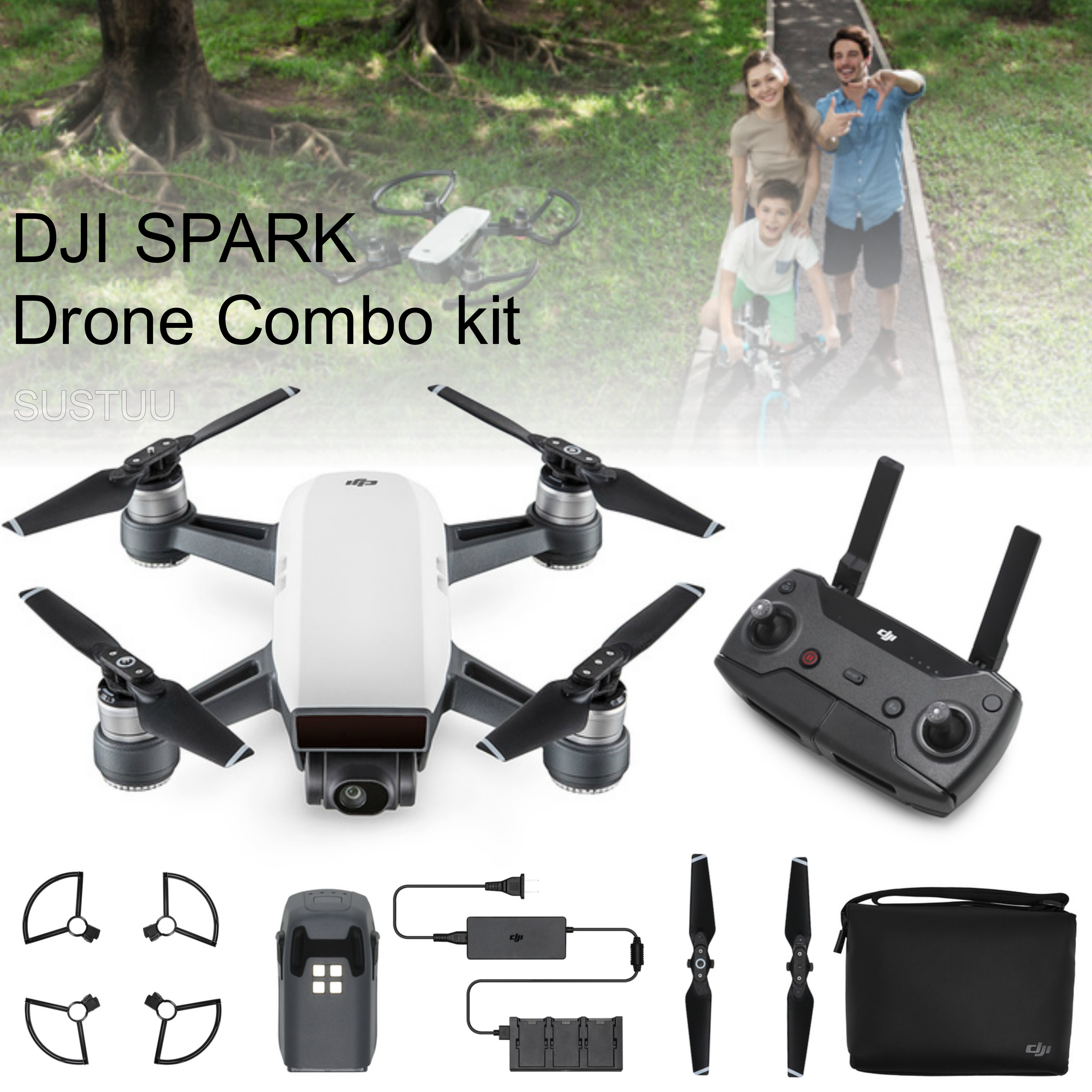 DJI SPARK Fly More Camera Drone Combo Kit|12MP|HD 1080p|CP.PT.000904|Alpine White