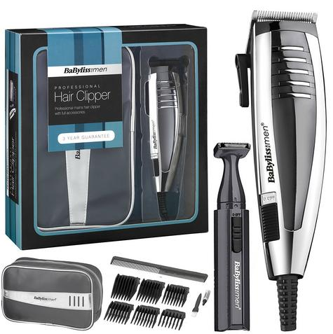 Babyliss New 7448BGU Men's Hair Clipper Gift Set|Mains Operated|6 Comb Guide| Thumbnail 1