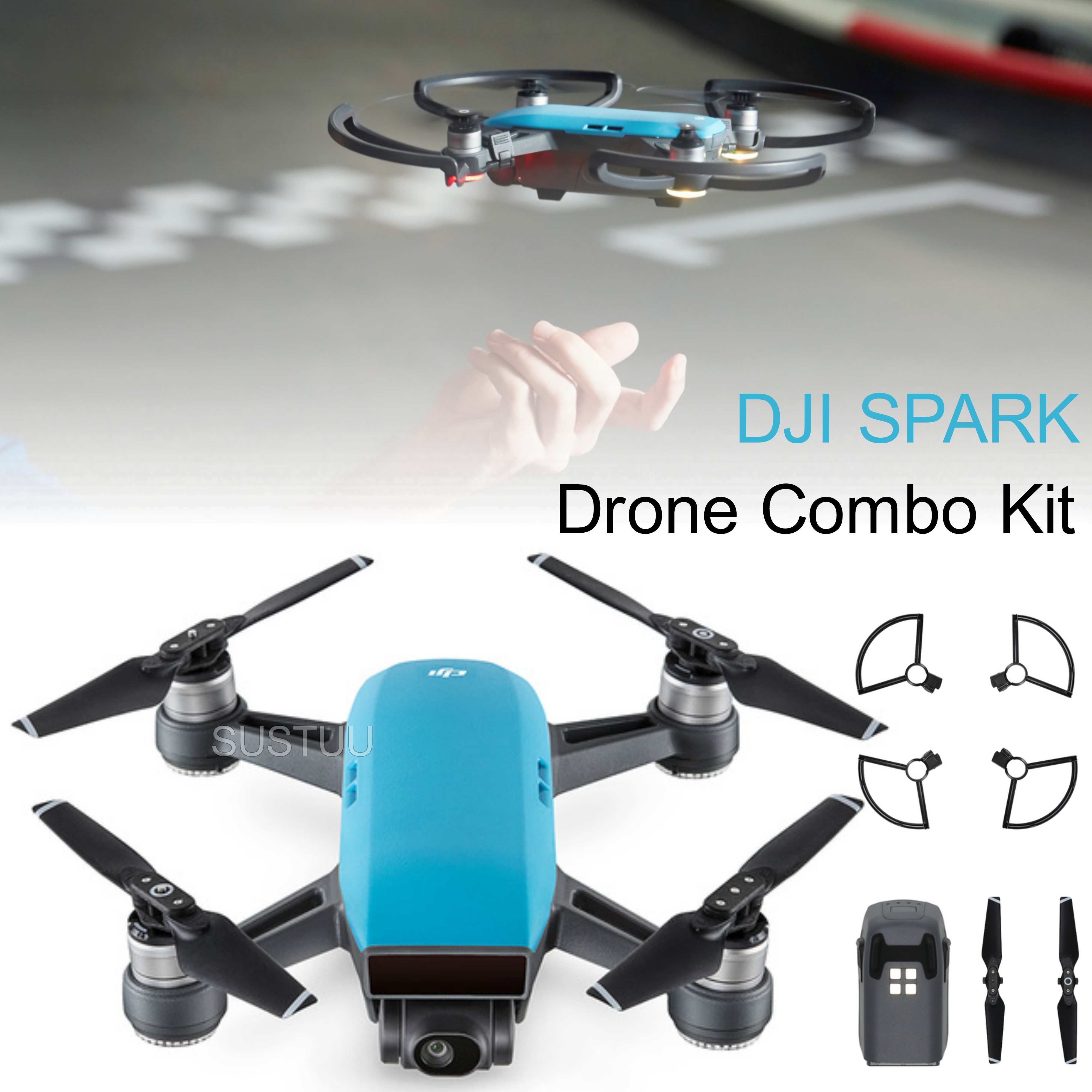 DJI SPARK Fly More Camera Drone Combo Kit|12MP|HD 1080p|CP.PT.000907|Sky Blue