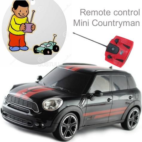 Remote Control Toy Car | Kids Model with Lights - Mini Countryman | 1:24 Scale | Black Thumbnail 1