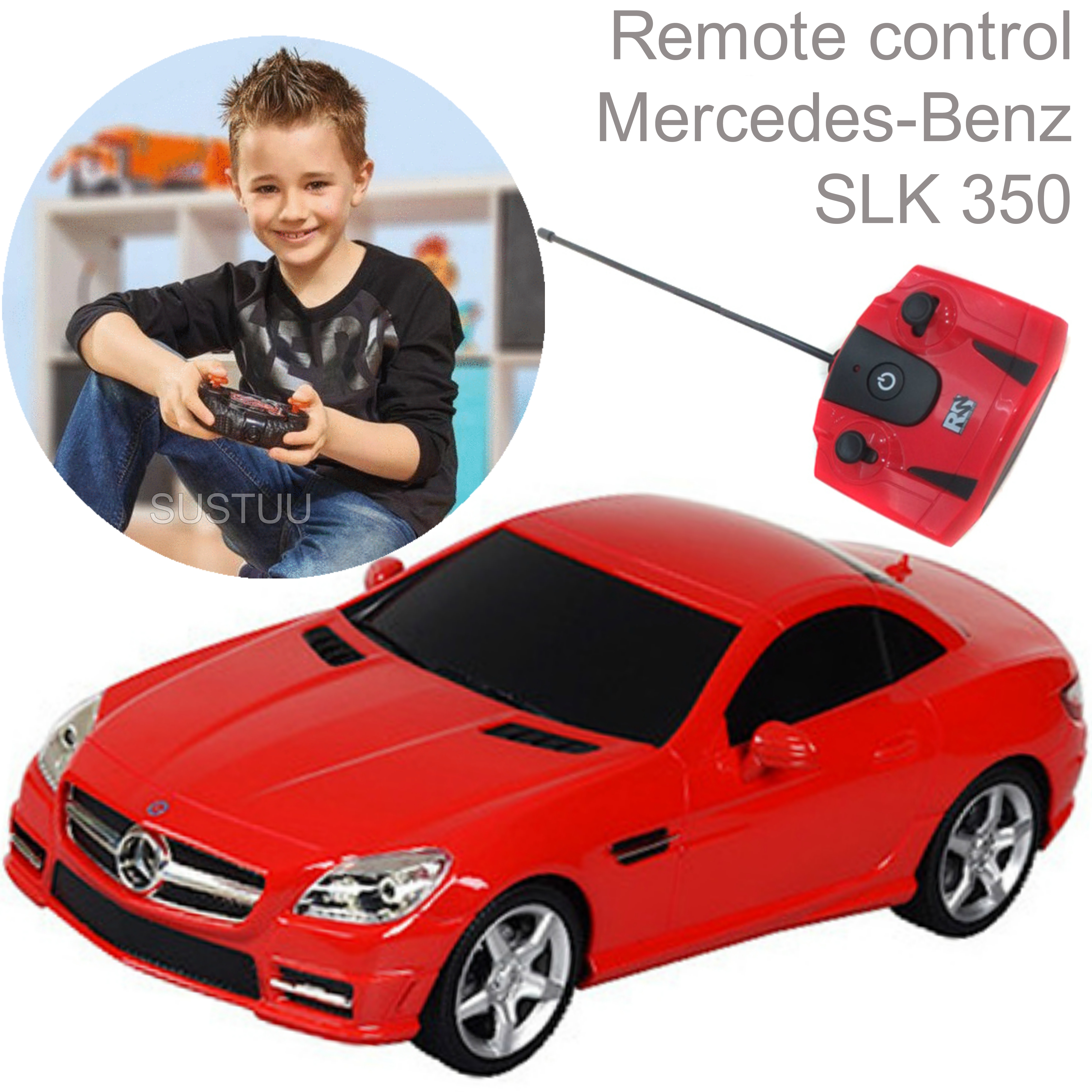 Remote Control Toy Car | Kids Model With Lights-Mercedes-Benz SLK 350 | 1:24 Scale | Red