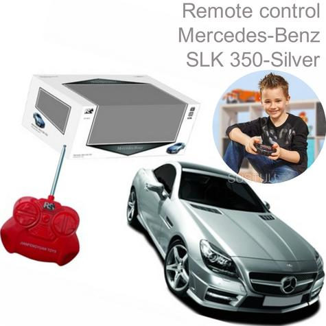 Remote Control Toy Car | Kids Model - Mercedes-Benz SLK 350 | 1:24 Scale | Silver | New Thumbnail 1