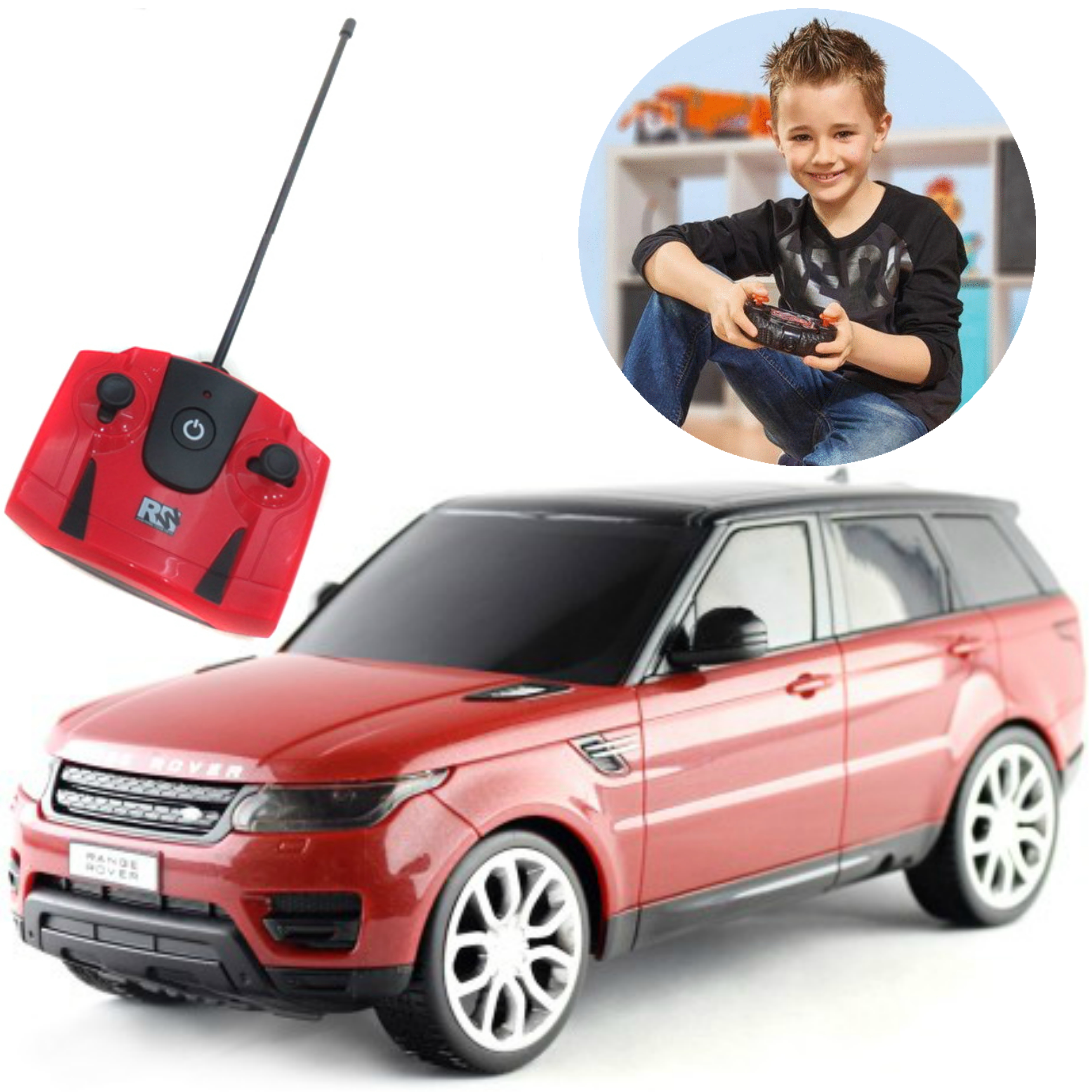 Remote Control ToyCar | Kids Model With Lights - 2014 Range Rover sport | 1:24 Scale | Red