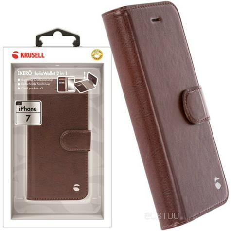 Krusell Ekero 2in1 FolioWallet Flip Case | Protective Leather Cover | iPhone7 | Coffee Thumbnail 1