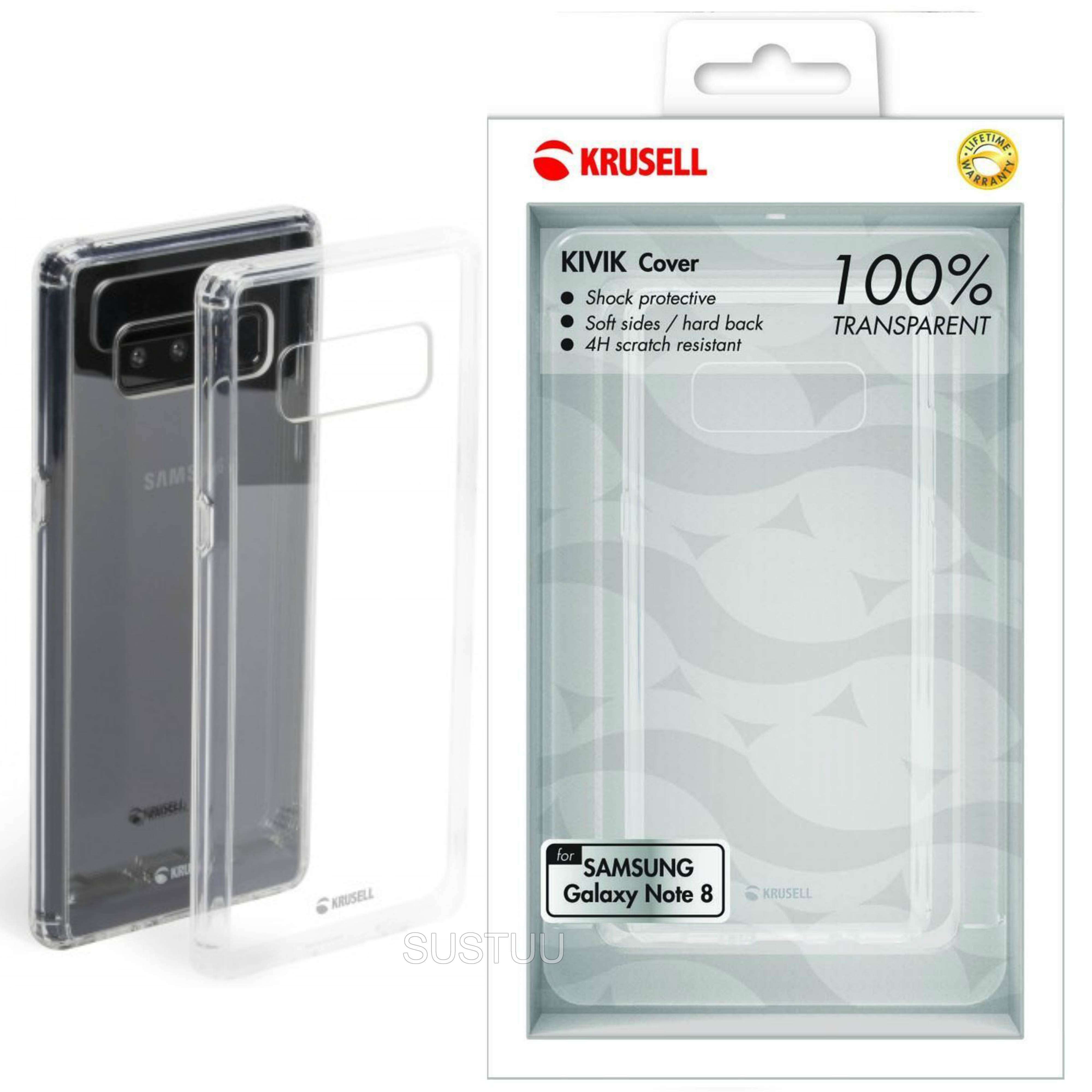 Krusell Kivik Transparent Back Cover | Protective Clear Case | Samsung Galaxy Note 8