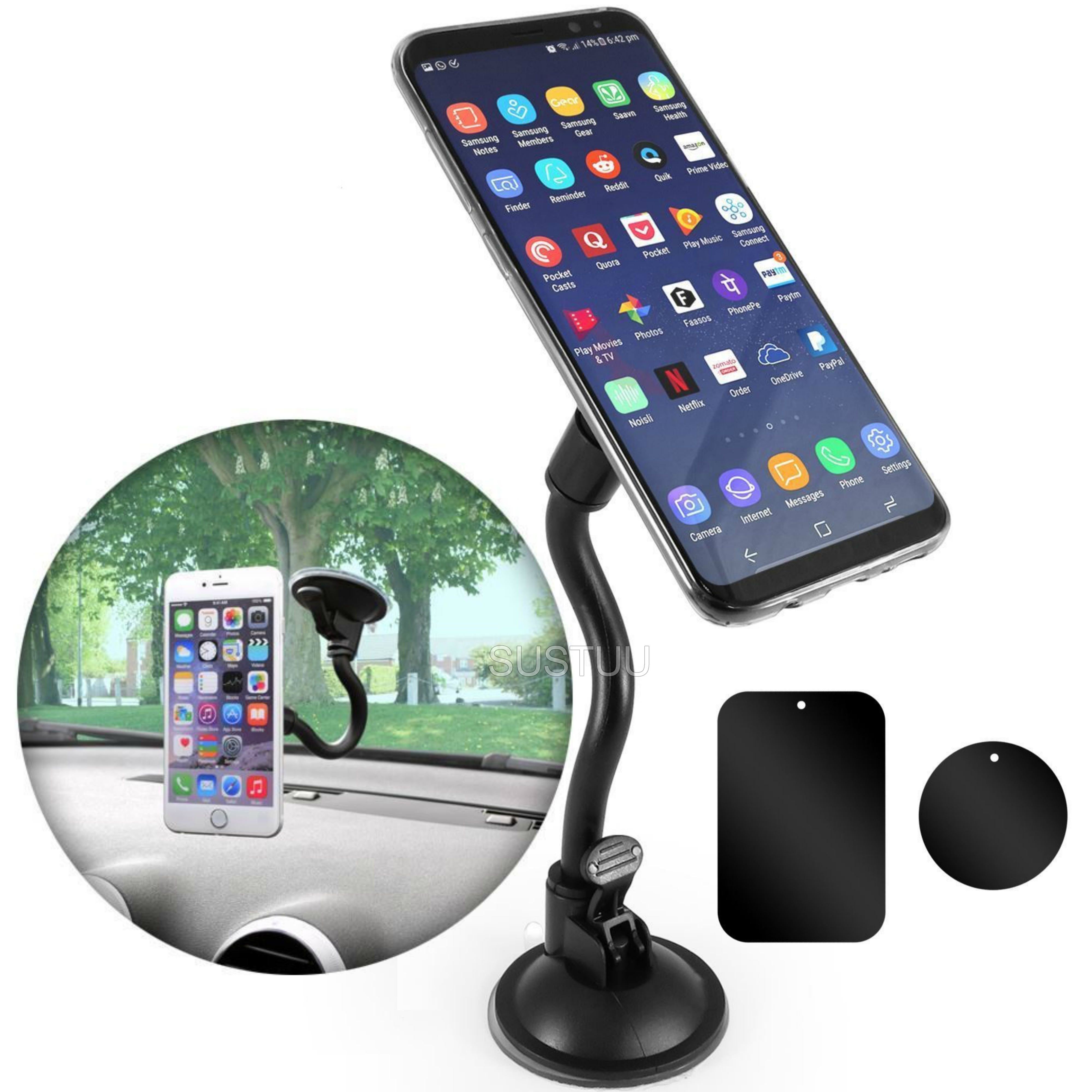 Universal In Car Magnetic Holder | Windscreen Suction Mount | For Smartphone - GPS/ SatNav