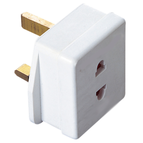 European Plug Converter / Adapter | EU 2 Pin to 3 Pin UK Mains Socket | DOMF320AA | White