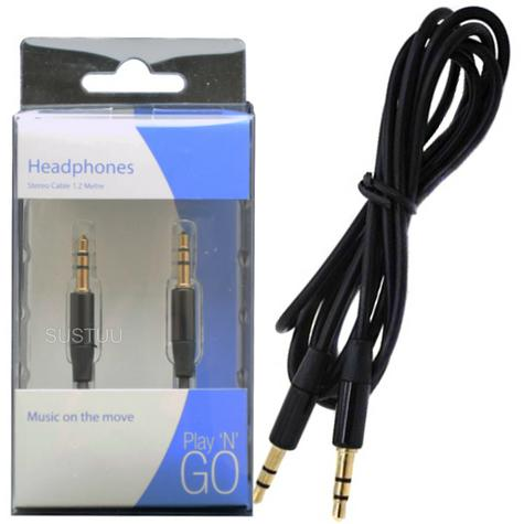 Double Ended Stereo Jack Plug Lead | 60cm Audio Cable | 3.5mm Nickel Connection | Black Thumbnail 1