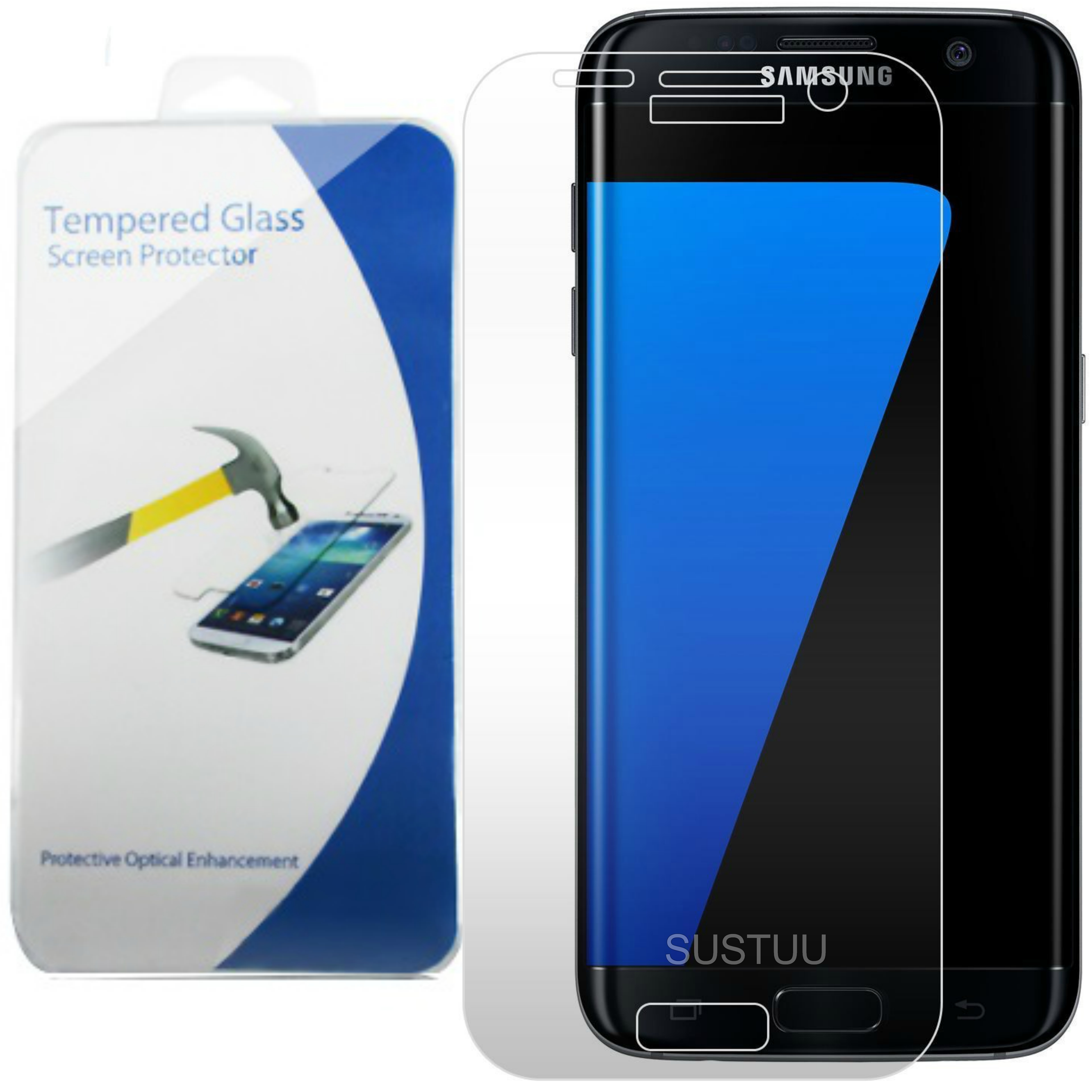 Clear Tempered Glass Screen Protector | Hard Tough Film Guard | Samsung Galaxy S7 | New