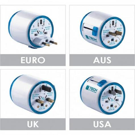 Travel Blue Classic Mains Adapter | UK/EURO/AUS/USA Plug | Covers Over 150 Countries Thumbnail 2