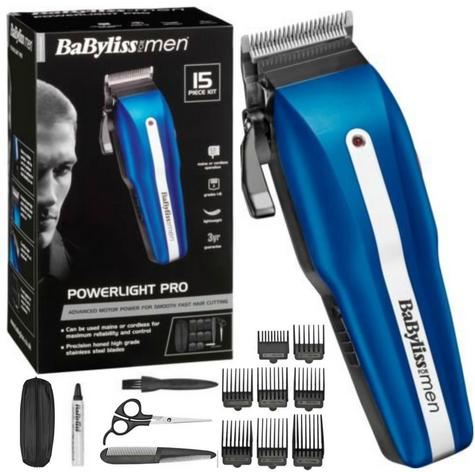 Babyliss New 7498CU Men's Powerlight Pro 15 Piece Cordless Hair Clipper Kit Set Thumbnail 1