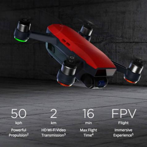 DJI SPARK Fly More Camera Drone Combo Kit UK|12MP|HD 1080p|CP.PT.000906|Lava Red Thumbnail 8