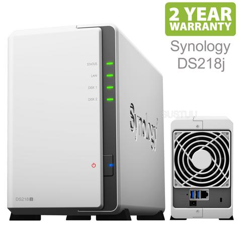 Synology DS216j 2 Bay Desktop NAS Enclosure|DLNA|112.75 MB/s Read|Cloud Storage|White Thumbnail 1