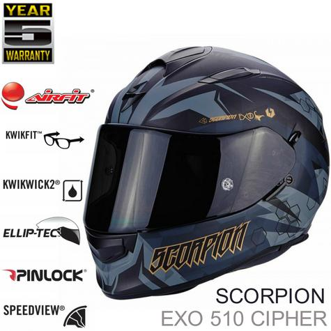Scorpion Exo 510 Air Cipher Full Face Motorcycle Helmet|TUV Tested|Unisex|Matt Black/Gold Thumbnail 1